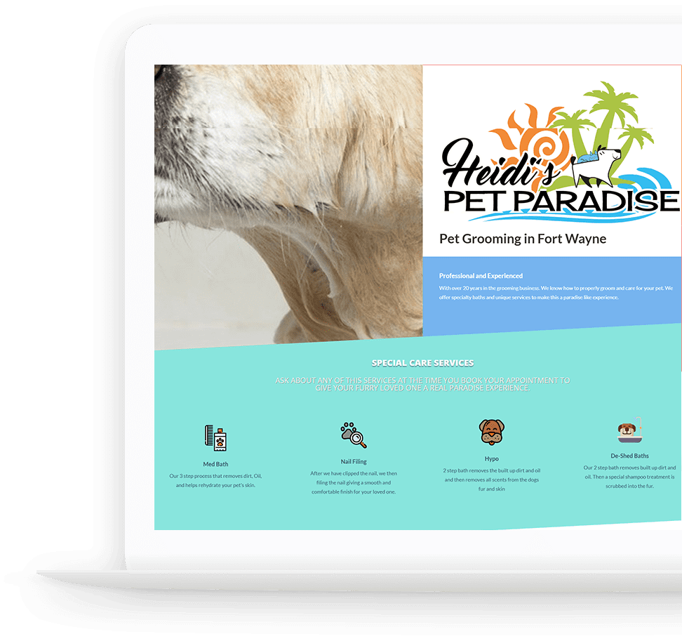 pet groming business website laptop view of website using local seo services